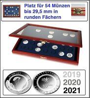 Look Echt Holz Münzvitrine Für 54 x Deutsche 10 Euro Luft bewegt 2019 2020 2021