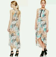 $120 Two By Vince Camuto Multi Animal Prin Midi High Low Faux Wrap Dress~S M3020