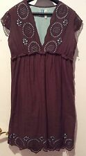 Pow Wow Brown Cotton Dress Cup Sleeves Laser Cut Scalloped Empire Waist Size 6