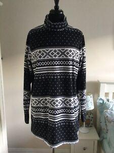 Landsend Ladies Fleece Jumper Size L Large Black Fairisle Pattern (LONGER LENGTH