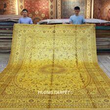 Yilong 9'x12' Oversize Classic Silk Area Rug Yellow Antique Carpet Handmade 1281