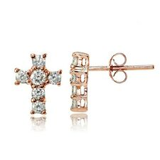 Rose Gold Tone over Sterling Silver Cubic Zirconia Studded Cross Earrings