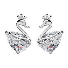 coppia orecchini da donna cigno strass bianco R87