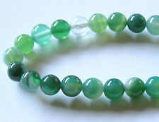 50pcs 8mm Round Natural Gemstone Beads - Green Agate