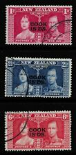 1937 CORONATION STAMPS FROM THE COOK ISLANDS. SG124-126. GOOD TO FINE USED.