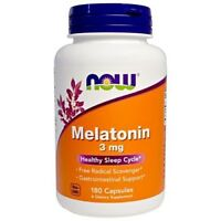 NOW FOODS MELATONIN 3MG | 180 CAPSULES | Healthy Sleep Cycle | FREE SHIPPING !