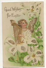 Good Wishes for Easter, Angel with Harp, Lily Flowers Vintage Postcard