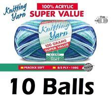 10 x Knitting Yarn 8 Ply 100g Multi Colour Peacock Soft Brand New