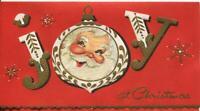 VINTAGE CHRISTMAS SANTA CLAUS ORNAMENT JOY SNOWFLAKE GOLD GLITTER GREETING CARD