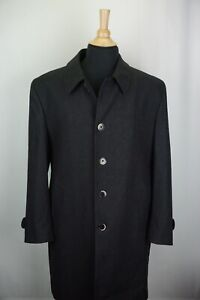 Luigi Bianchi Mantova Gray Herringbone Wool Mens Dress Overcoat Sz 42