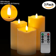 3pcs Plastic Pillars Flameless Candle light Realistic Dancing LED Flames +Remote