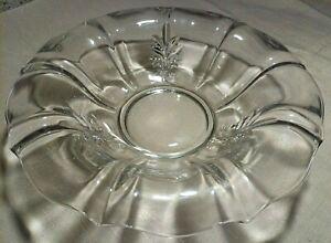 "Vtg Fostoria Baroque Clear Depression Glass 12"" Rolled Edge Bowl Circa 1937 EUC"