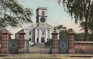 Postcard Kawaiahoa Church Honolulu Hawaii built 1830 of coral, unused & uncommon