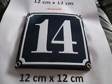 Hausnummer Nr. 14 weisse Zahl auf blauem Hintergrund 12 cm x 12 cm Emaille Neu
