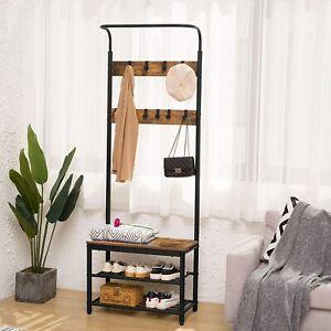 HOOBRO Garderobe Schuhregal mit Sitzfläche, Kleiderständer Garderobenständer