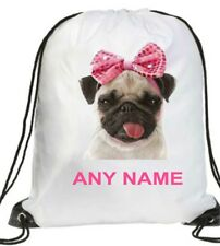 PERSONALISED GIRL cute pink bow PUG DOG Gym BAG Swimming PE Dance School GIFT