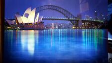 schimmernd Beleuchtung Glas Wandbild Leucht Bild Poster Sydney Hafen Australien