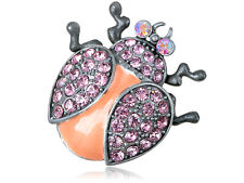 Silver Pink Alloy Crystal Rhinestone Ladybug Insect Fashion Jewelry Pin Brooch