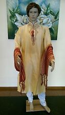 "38"" Small 95 Cm Silk Sherwani Suit Indian Bollywood Mens Kurta Cream Gold KA9"