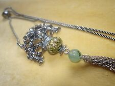 Long flapper style necklace with green and yellow tones, Lucite and agate bead