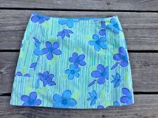 Lilly Pulitzer Girls 7 Skirt Wrap-Around Reversible Green Blue Flowers Q15