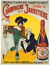 VINTAGE WINE ART PRINT - Champagne de la Jarretiere 28x36 Poster France French