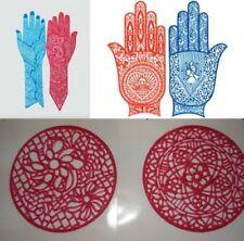 6 Henna Reusable Rubber Full Hand + Short + Palm Stencils For Temporary Tattoos