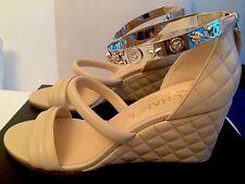 Chanel Wedge Sandals, Beige Color 37.5 $920