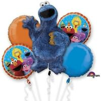 5 Piece Cookie Monster Sesame Street Balloon Bouquet Party Decorating Supplie
