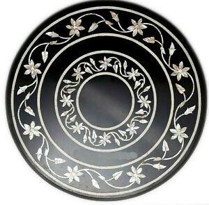 """20"""" Marble Side Coffee Table Top Mother of Pearl Floral Inlay Bedroom Decor B666"""