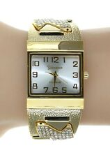 Ladies Square Case Gold Bangle Cuff Big Face Watch With Crystals
