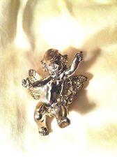 Bat-Ami Israel Sterling Silver Gold Vermeil Open Arm Cherub Angel Pendant Pin