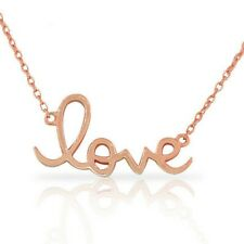 925 Sterling Silver Rose Gold Plated Love Heart Inscription Pendant Necklace