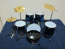 "1/6 Scale Drum Set Musical Instrument for 12"" Action figure - Blue"