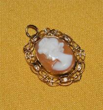 Vintage Italian Cameo Pendant/Charm set in 14KT Yellow Gold