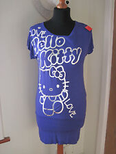 HELLO KITTY LOVE GRAFFITI TOP MINI DRESS age 12-14 years PURPLE NEW