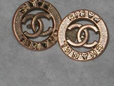CHANEL  2  CC LOGO FRONT  rose GOLD METAL BUTTONS  10  MM/ SO CUTE  NEW LOT 2
