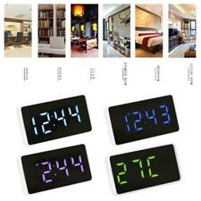 LED Mirror Clock Electronic Alarm Clocks with Time/Calendar/Temperature Alarm