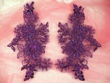 "Appliques Floral Venise Lace Purple  Mirror Pair Sequin Beaded Set 7"" (DH50)"