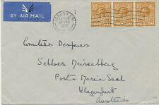 "2402 1935 rare flown cover ""LONDON – KLAGENFURT, Austria"" w GV 5 D (3x) multiple"