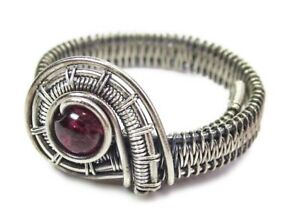 Garnet Adjustable Ring, Woven in Sterling Silver Wire