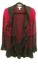 STYLE & COMPANY Size Small Red & Black Cardigan Sweater Ruffle Collar Hem & Cuff