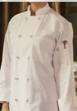 White Chef Coats, Knot Buttons, 65/35 Poly Cotton, Long Sleeves, Size: L