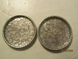 Pair Vintage Aluminum Coasters Hand Forged Made by Everlast USA