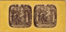 Scène de genre Bal masqué Stereo Diorama Vintage Albumine ca 1860
