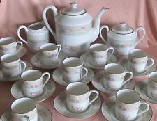 Juego de café completo porcelana Limoges decoración náyade nenúfar rosa