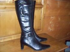 bottes cuir noir vintage ; taille 39 .(26/V/G/Y)