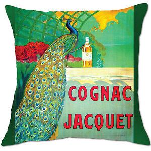 cognac jacquet peacock green vintage alcohol cushion covers