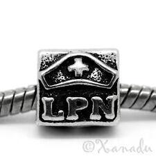 LPN Licensed Practical Nurse European Bead With Nursing Cap For Charm Bracelets