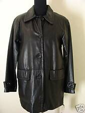 SIENNA STUDIO  M NEW  black button front  style lamb  leather coat
